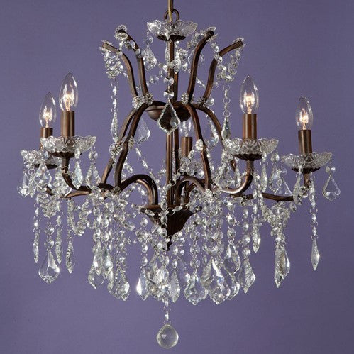 5 Arm Bronze Cut Glass Droplet Chandelier