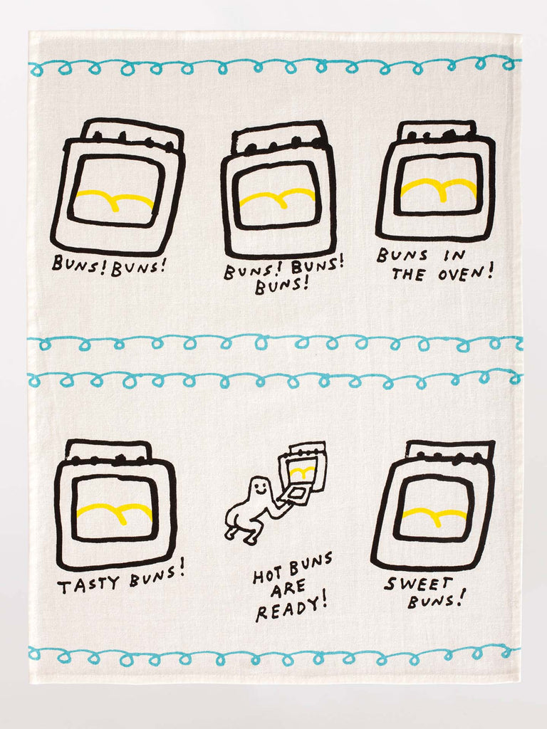 Blue Q Tea Towel - Hot Buns Are Ready