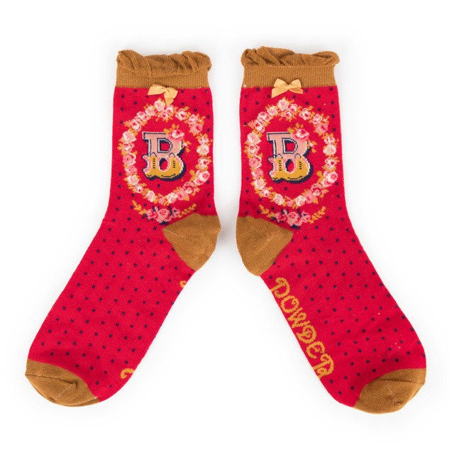 Powder Alphabet Ankle Socks - B