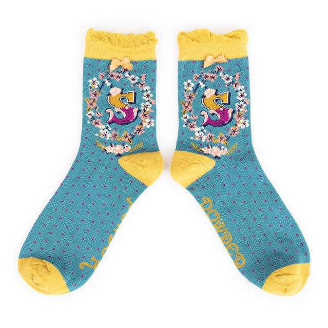 Powder Alphabet Ankle Socks - S