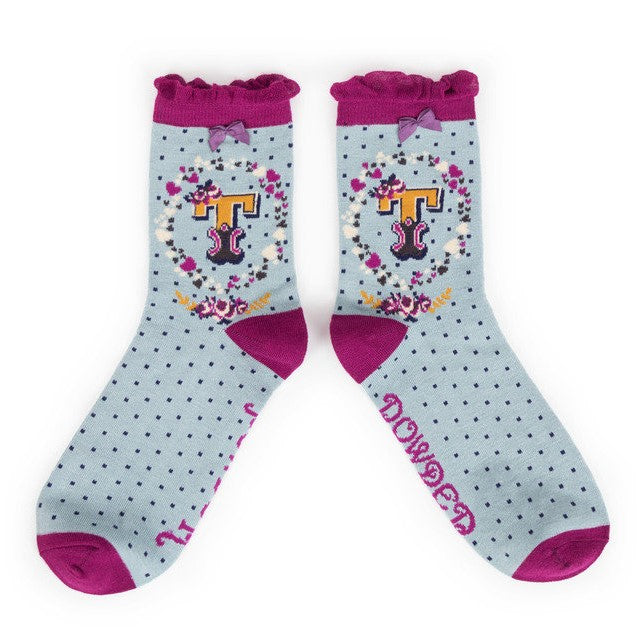 Powder Alphabet Ankle Socks - T