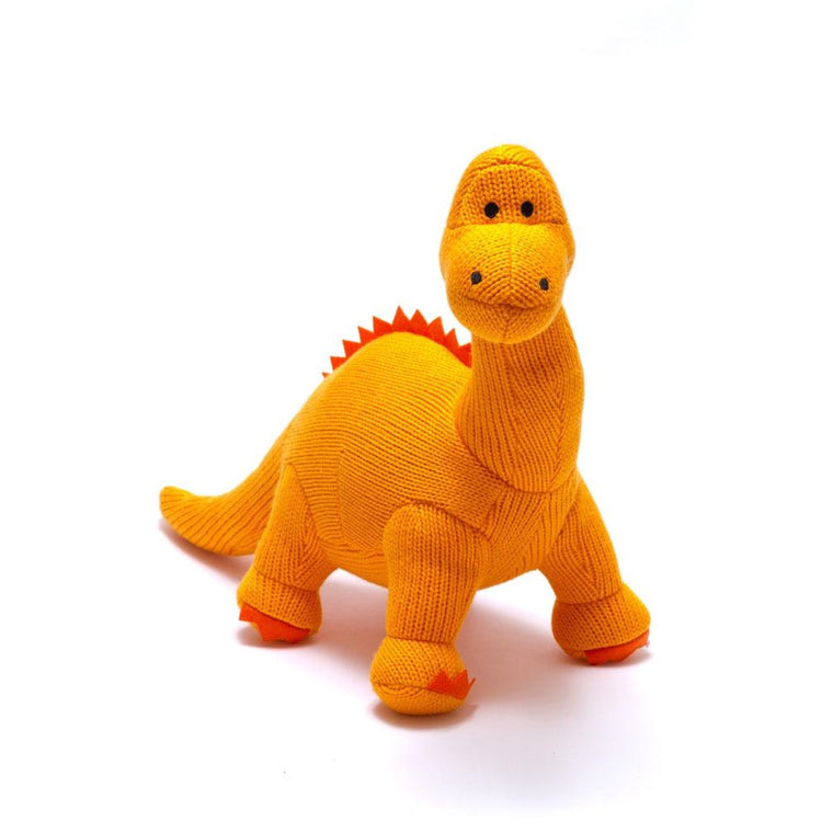 Dippy Orange Diplodocus Knitted Dinosaur Rattle Soft Toy