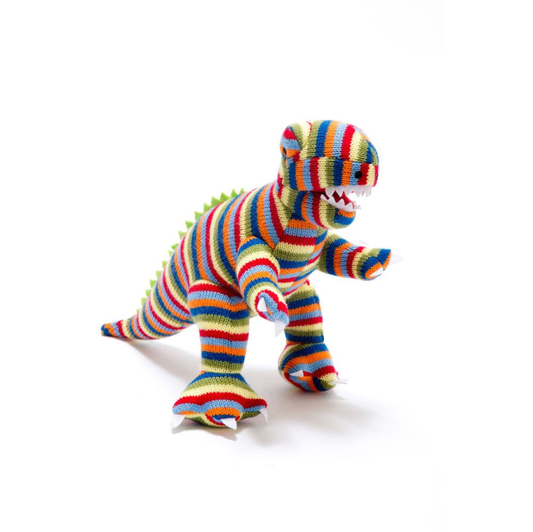 Toby Stripe T-Rex Knitted Dinosaur Rattle Soft Toy