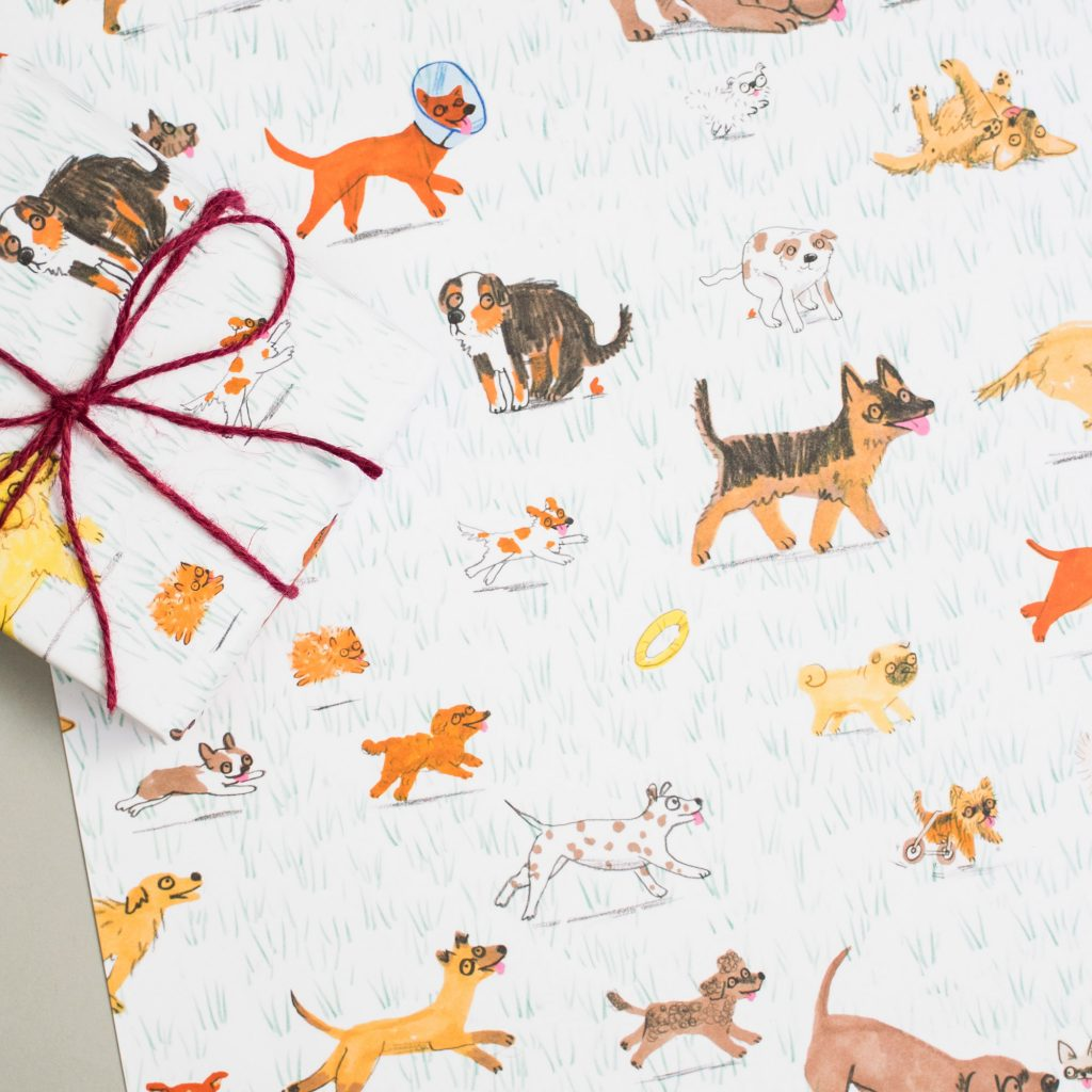Dog Park Wrapping Paper Sheet