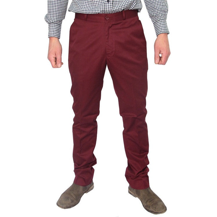 Mens Sta Prest Trousers Burgundy Red