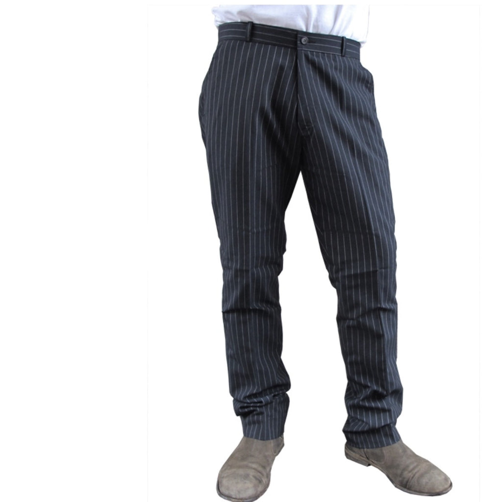 Mens Sta Prest Trousers Black Pinstripe