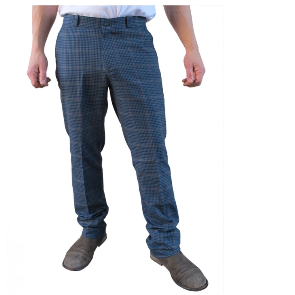 Mens Sta Prest Trousers Heritage Tweed Check Blue