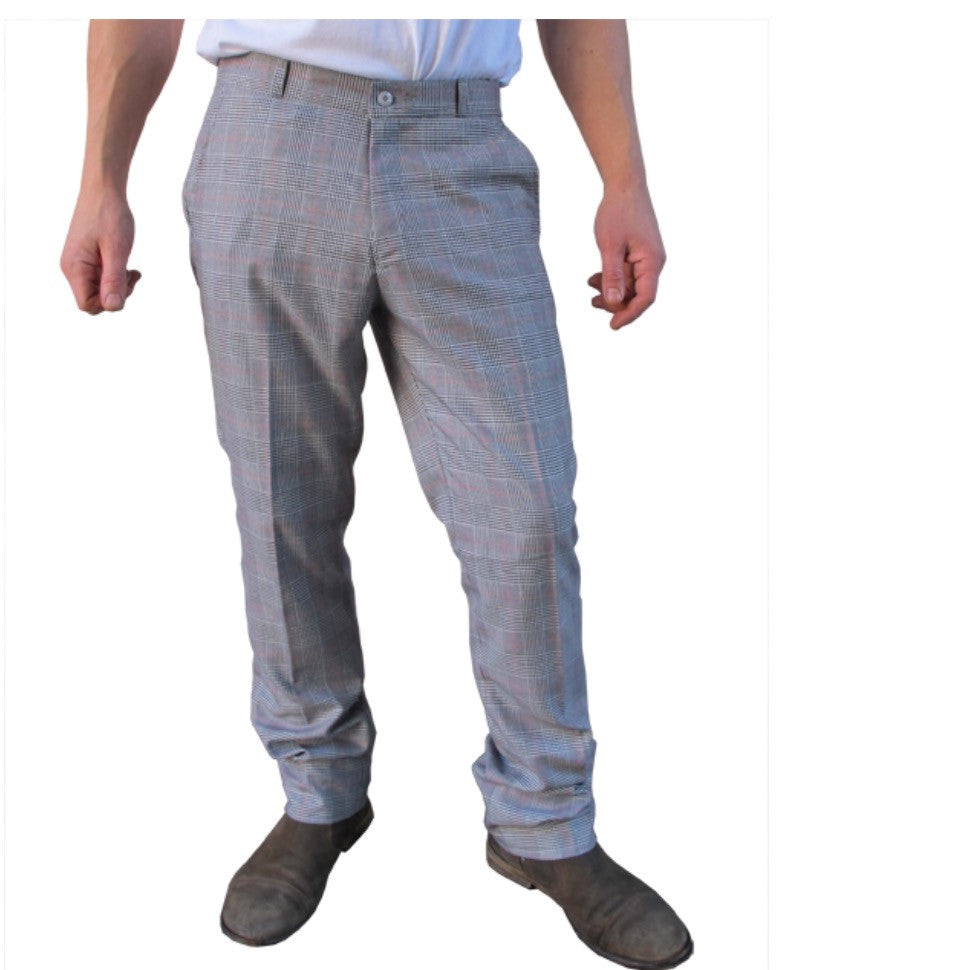 Mens Sta Prest Trousers Prince of Wales Check