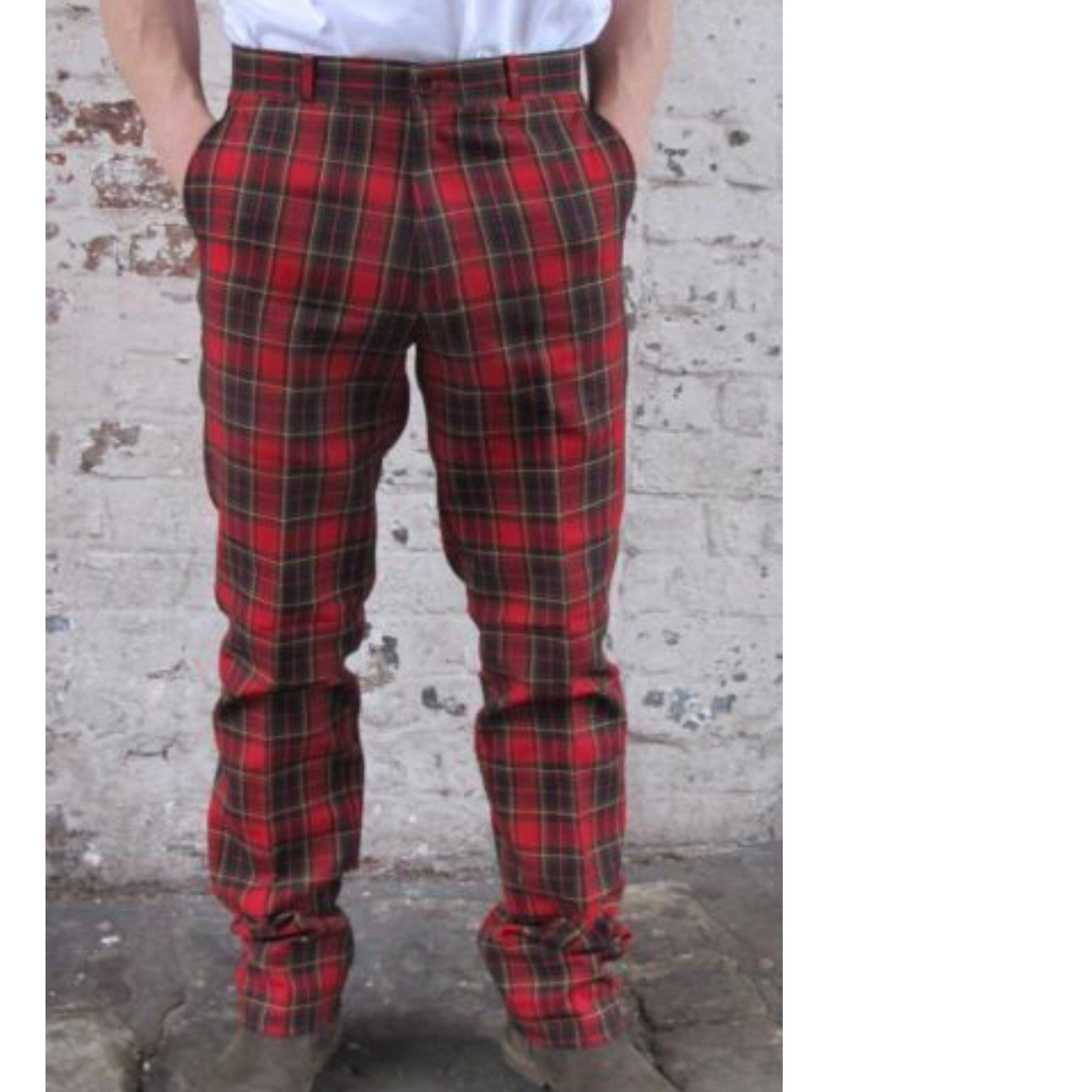Fabulous Mens Sta Prest Trousers Red Tartan 2 - Kiss Kiss Heart EQ77