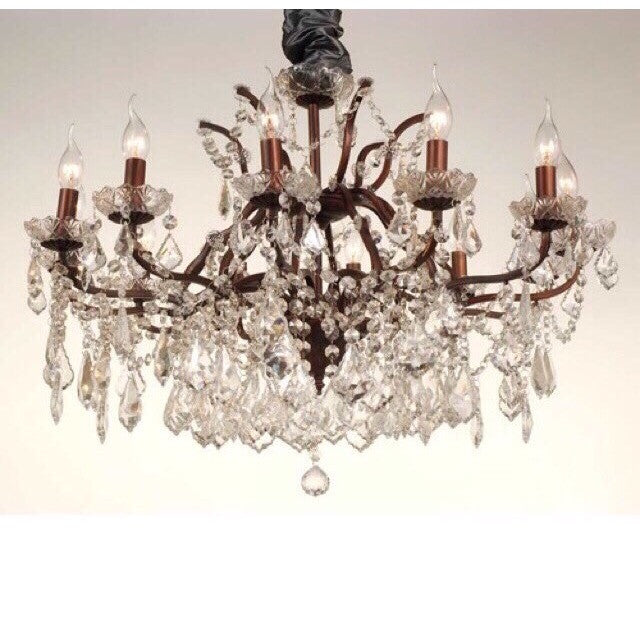 12 Arm Bronze Cut Glass Chandelier