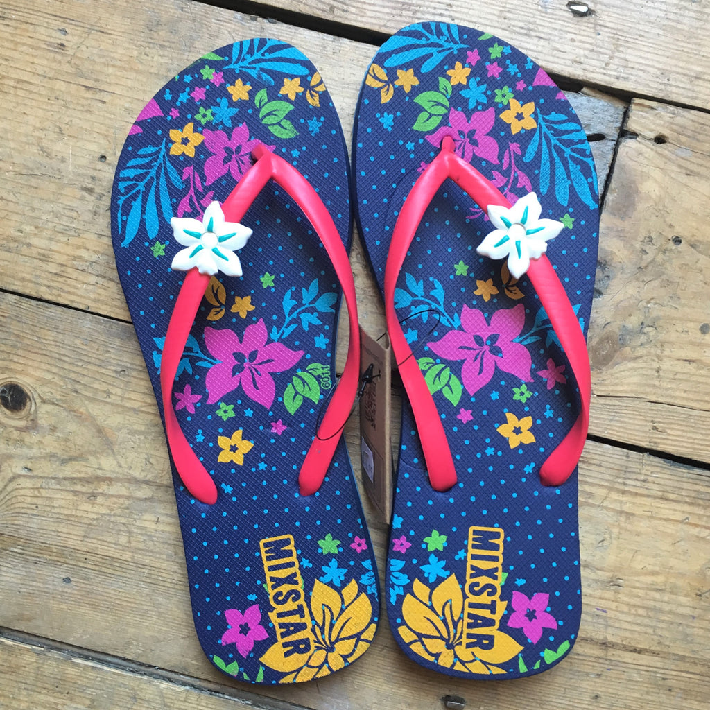 Pineapple Island Tropical Flower Flip Flops