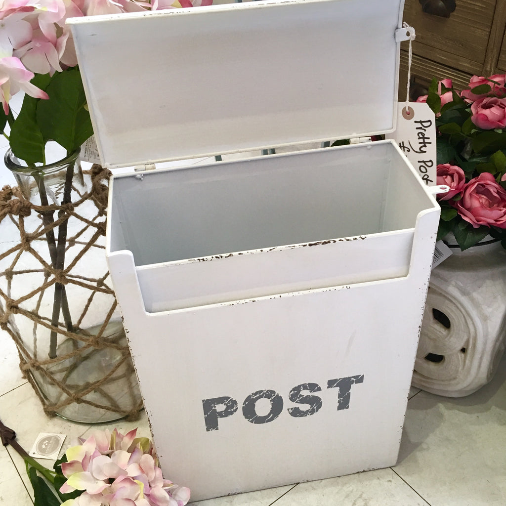 Pretty White Metal Post Box
