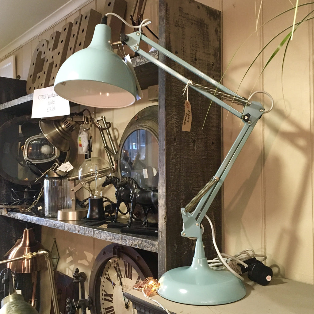 Blue Desk Arm Lamp