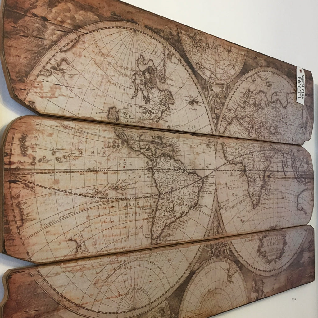 Large World Map in Two Halves on Wood Picture Plaque