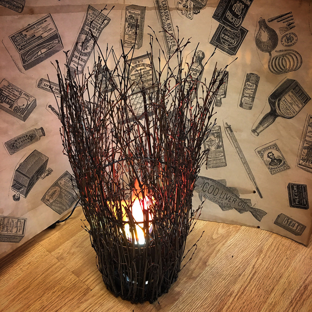 Luxa Flame Light Twig Wicker Vase