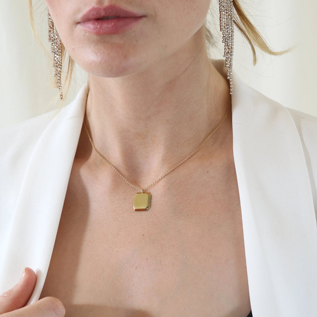 Square Disc Necklace - Gold Plated