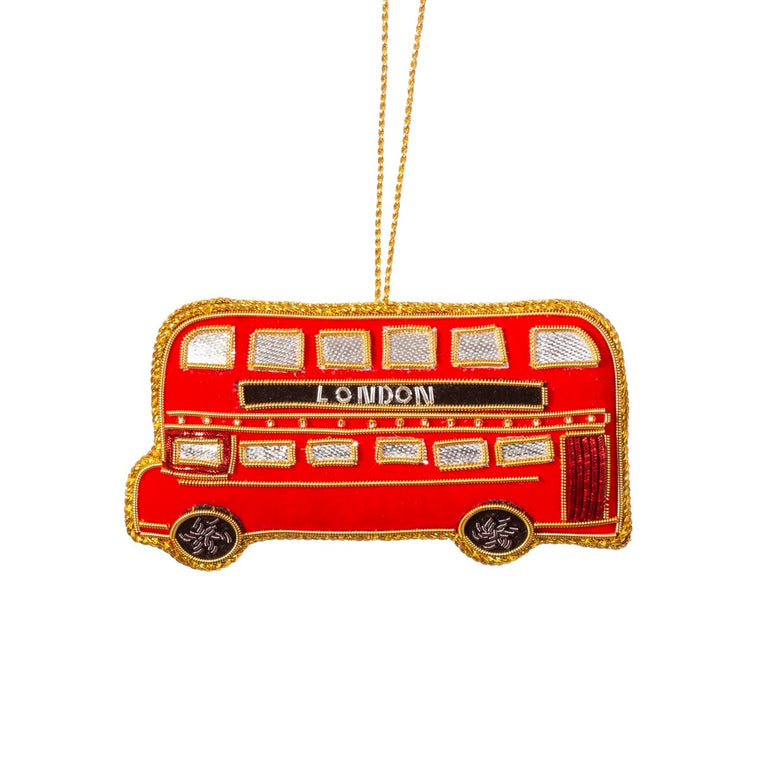 London Bus Zari Embroidery Hanging Decoration