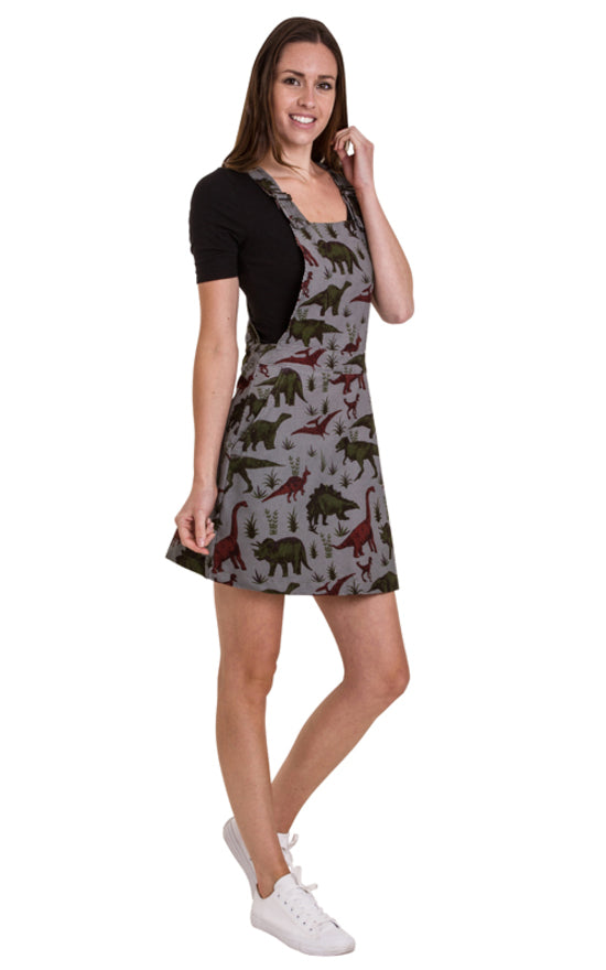 Grey Dinosaur Print Pinafore Dress