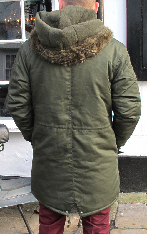 Mens Olive Green Fishtail Parka Coat
