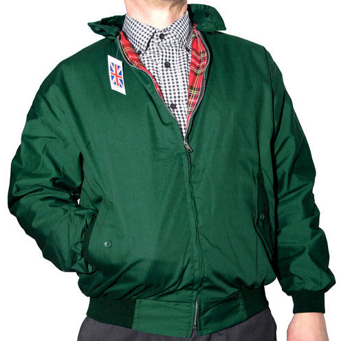 Mens Harrington Bomber Jacket Bottle Green