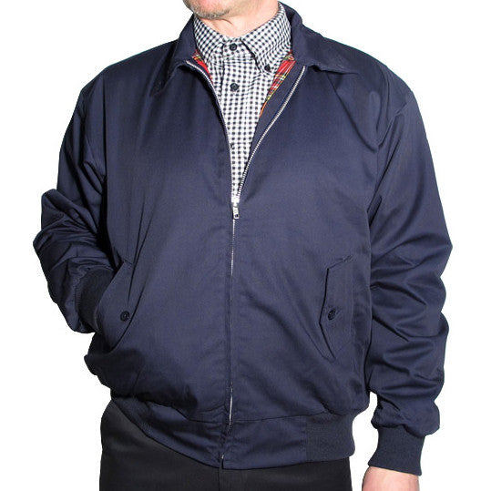 Mens Harrington Bomber Jacket Navy Blue