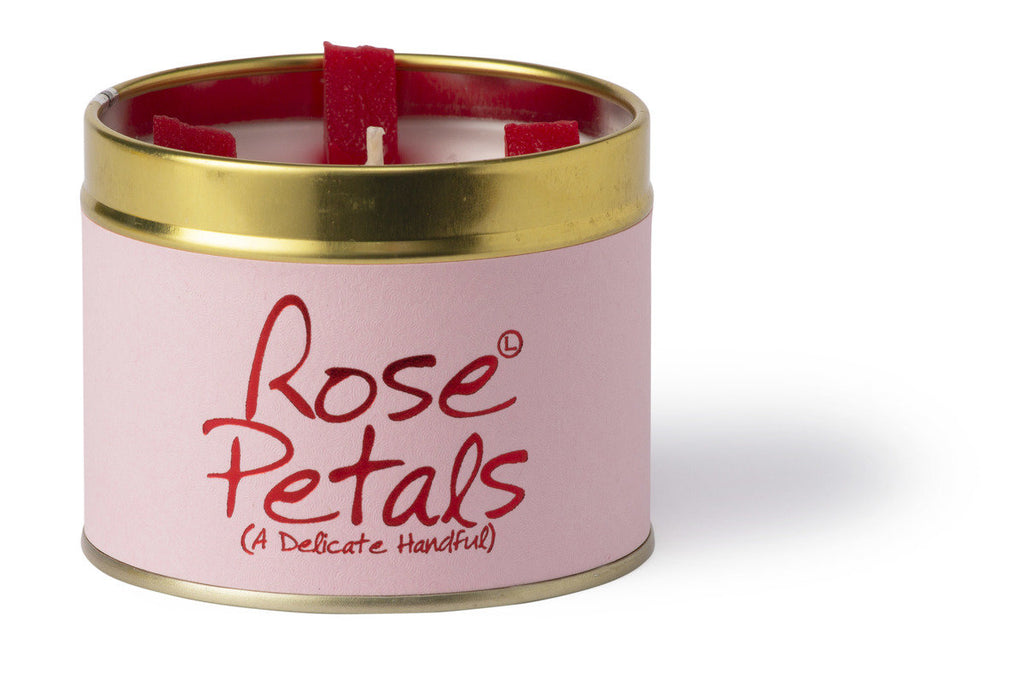 Lily-Flame Scented Tin Candle - Rose Petals