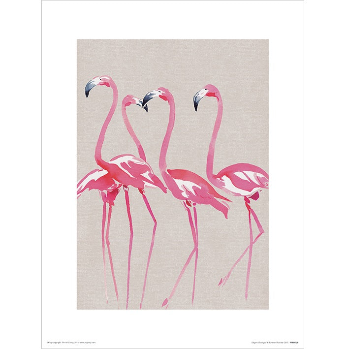 Summer Thornton Elegant Flamingos Art Print - 30 x 40cm