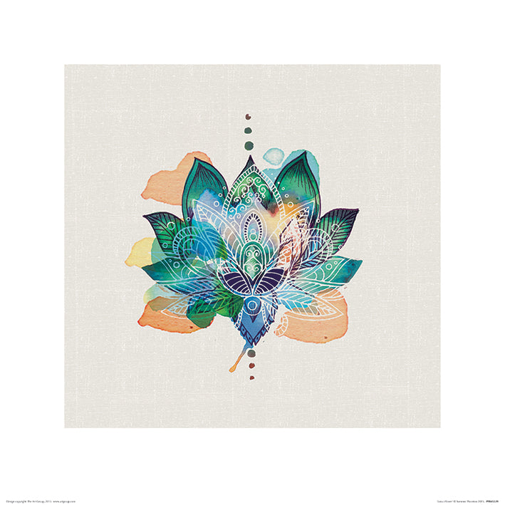 Summer Thornton Lotus Flower Art Print - 40 x 40cm