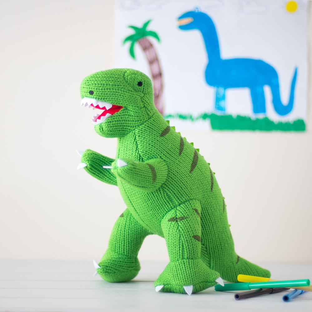 Terry Green T-Rex Knitted Dinosaur Soft Toy