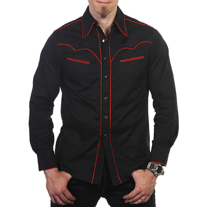 Mens Cowboy Shirt - Black with Red Piping