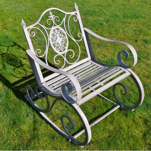 Metal Garden Rocking Chair - Antique Grey