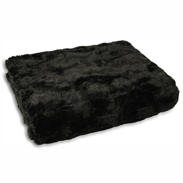 Chinchilla Plush Throw - Black