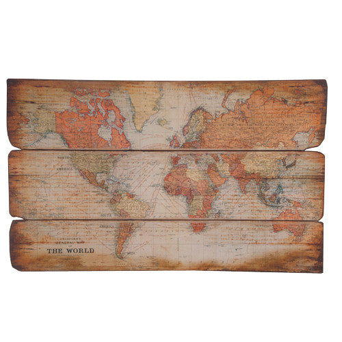 Large World Map on Wood Picture Plaque