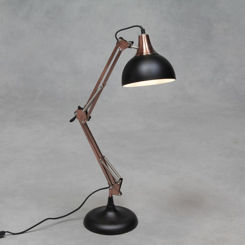 Matt Black and Vintage Copper Desk Arm Lamp