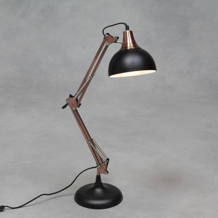 Matt Black & Vintage Copper Desk Arm Lamp