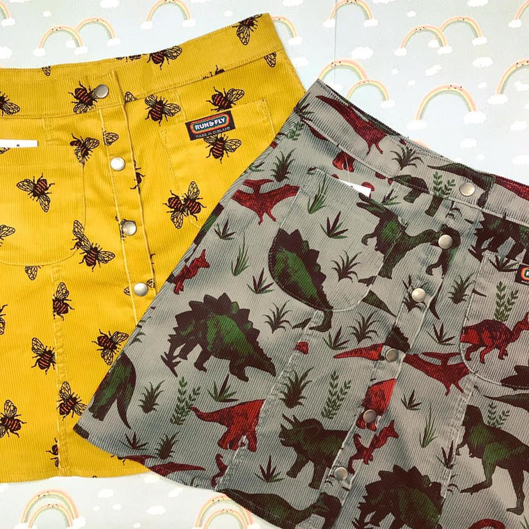 Cord Mini Skirt - Bee or Dinosaur Print