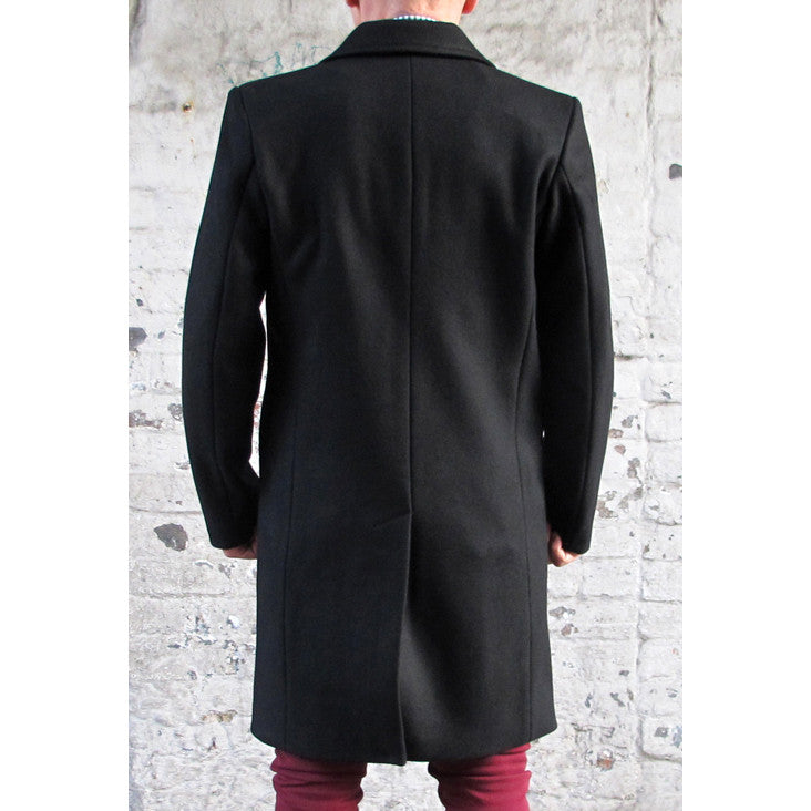 Mens Crombie Style Black Wool Coat