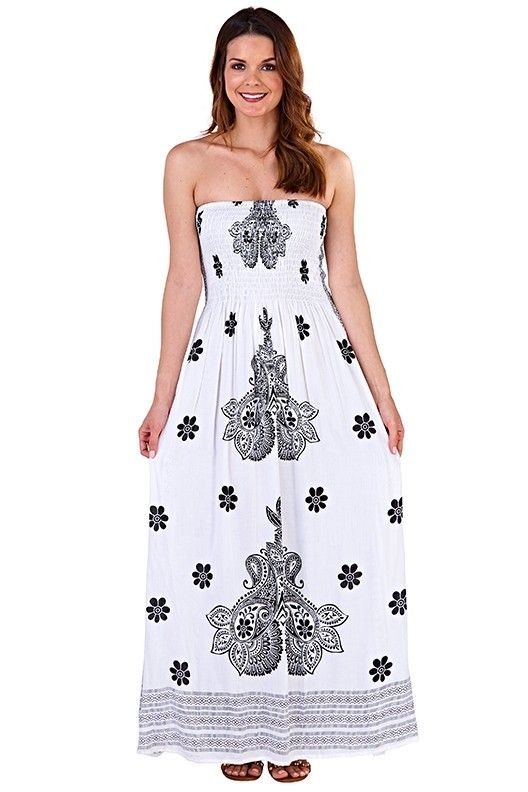 Strapless Maxi Dress - White & Black