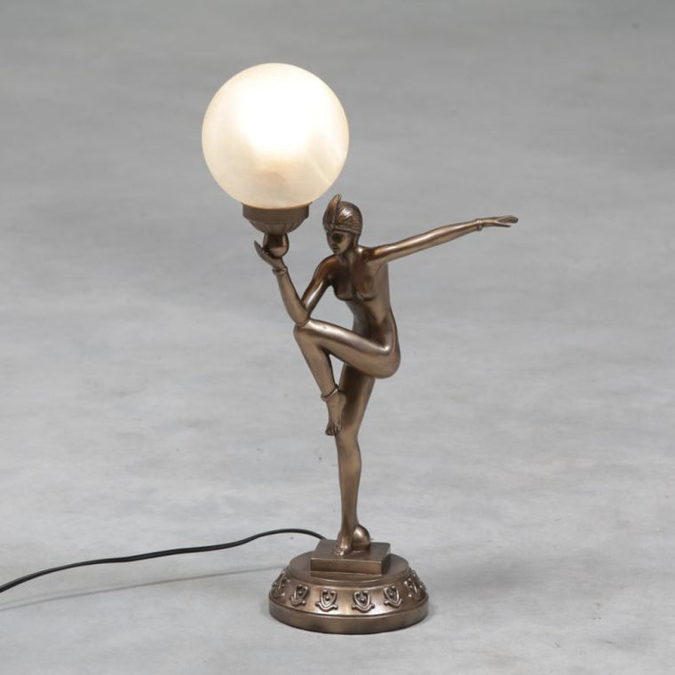 Art Deco Bronze Style Table Lamp with Glass Shade
