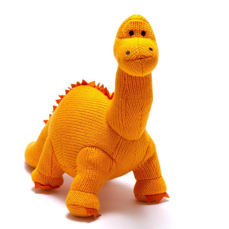 Dippy Orange Diplodocus Knitted Dinosaur Soft Toy
