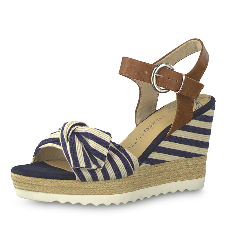 Marco Tozzi Tissa Stripe Wedge Sandals