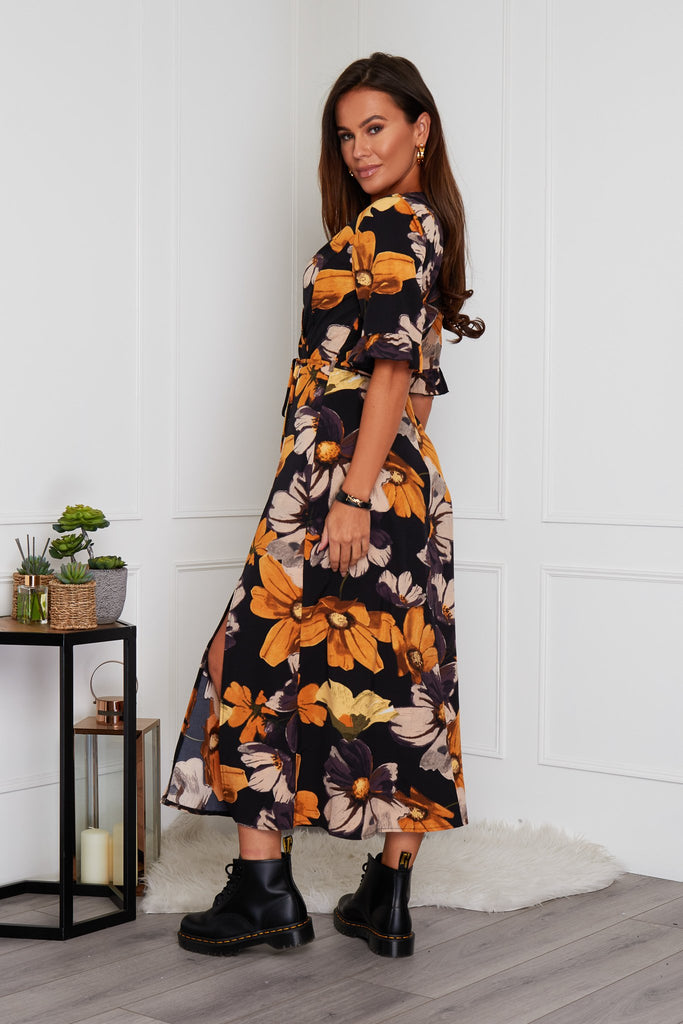 Eula Wrap Midi Dress - Mustard Floral