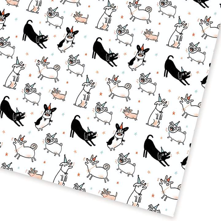 Party Dogs Wrapping Paper Sheet