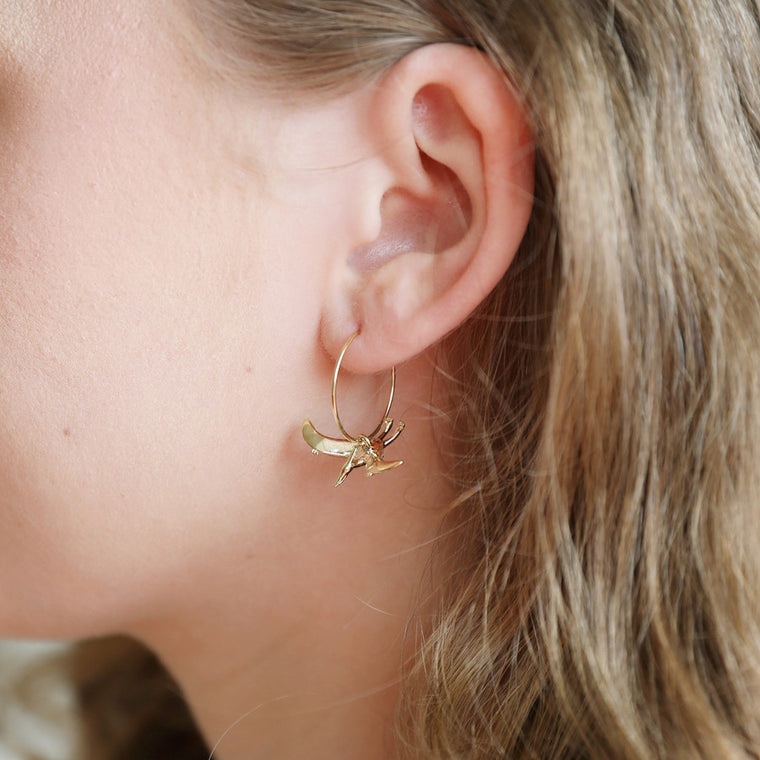 Dinosaur Hoop Earrings - Gold Pterodactyl
