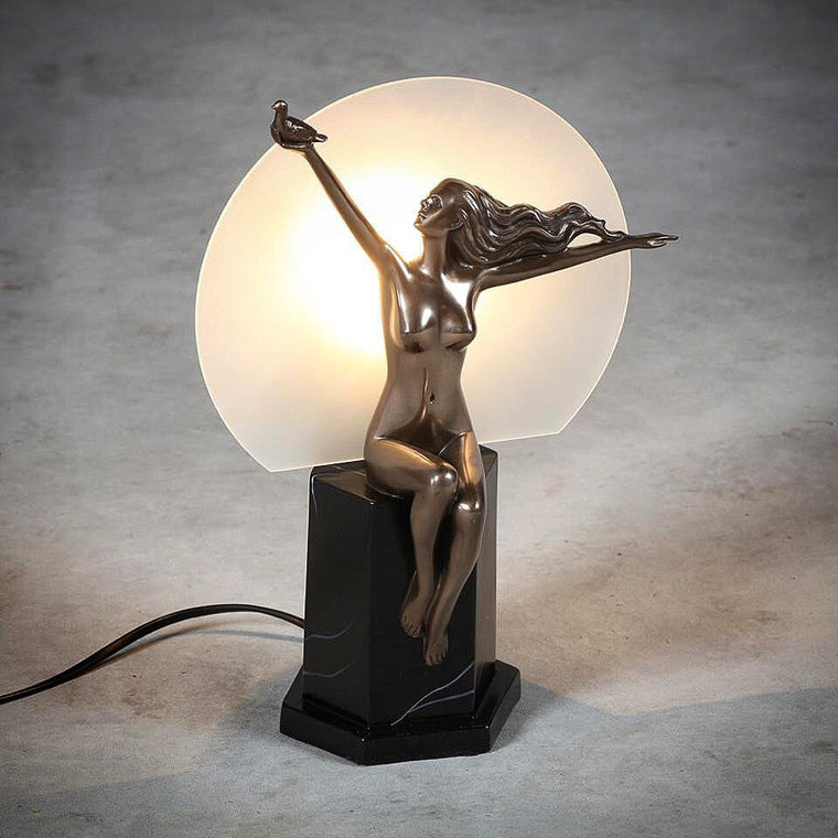 Art Deco Bronze Style Moon Lady Table Lamp