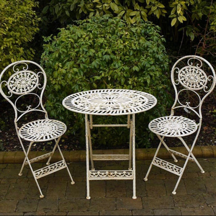 Garden Table & Chair Set - Cream Oval
