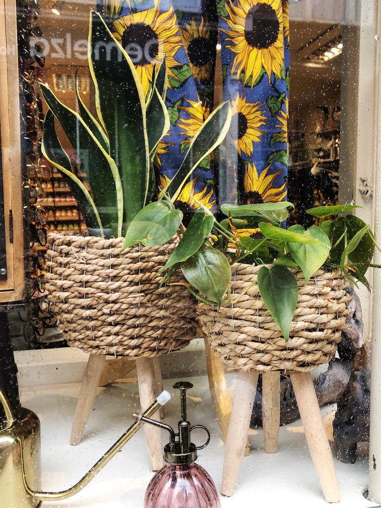 Natural Woven Plant Pot On Legs - 2 Sizes