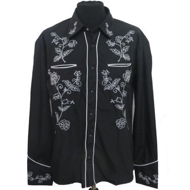 Mens Cowboy Shirt - Black with White Floral Embroidery