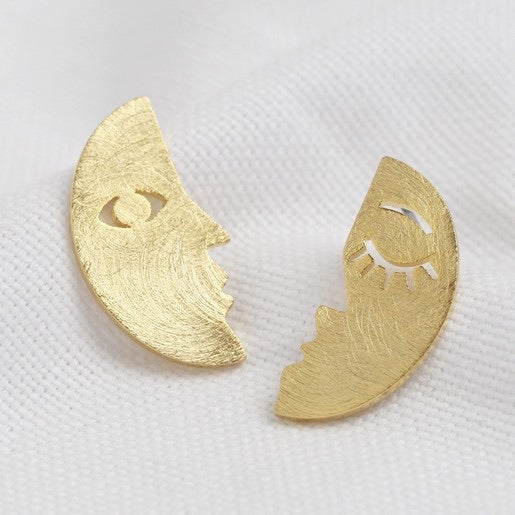 Half Moon Face Stud Earrings in Gold