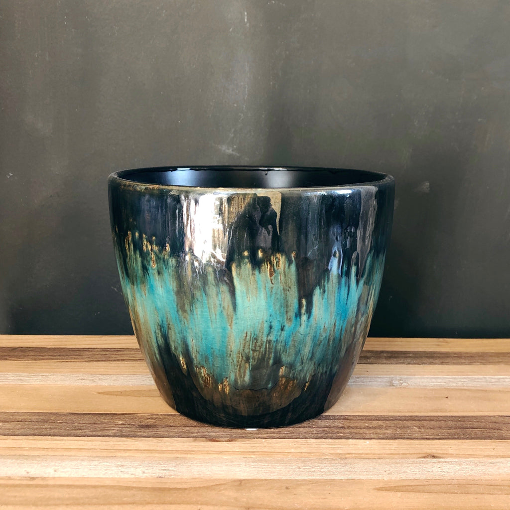 Green & Black Ombre Glazed Plant Pot - 2 sizes